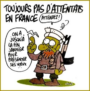 blog -Charlie hebdo-derniere Une de Charb-tjs pas attenta en France-jan2015