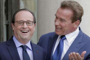 blog -Schwarzenegger et Hollande-perron Elysee-2014