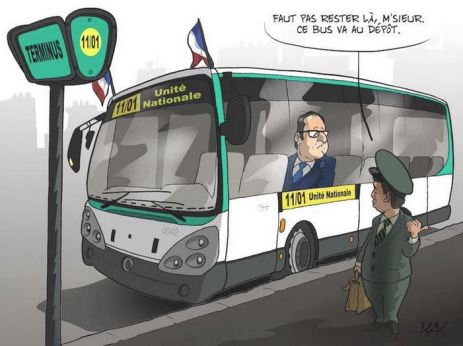 blog -loi Macron-developper syst autobus-Hollande au depot-jan2015-Kak