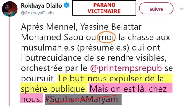 blog -Rokhaya Diallo-tweet attaque PrintempsRepublicain en soutien voile par prsdte UNEF-13mai2018