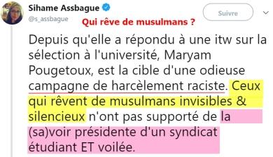 blog -Sihame Assbague-tweet soutien a Maryam Pougetoux-denoncant ceux qui revent musulmans invisibles-13mai2018